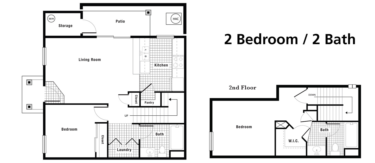 Floorplans crystal creek town homes for 2 story 2 bedroom apartment plans